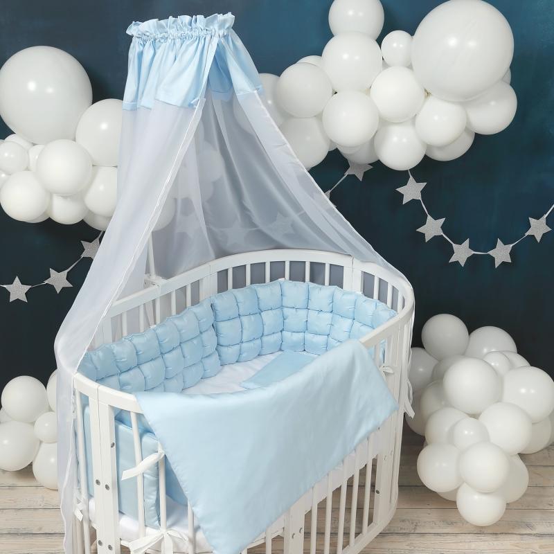 Балдахин для детской кроватки голубой  Happy Family Studio
